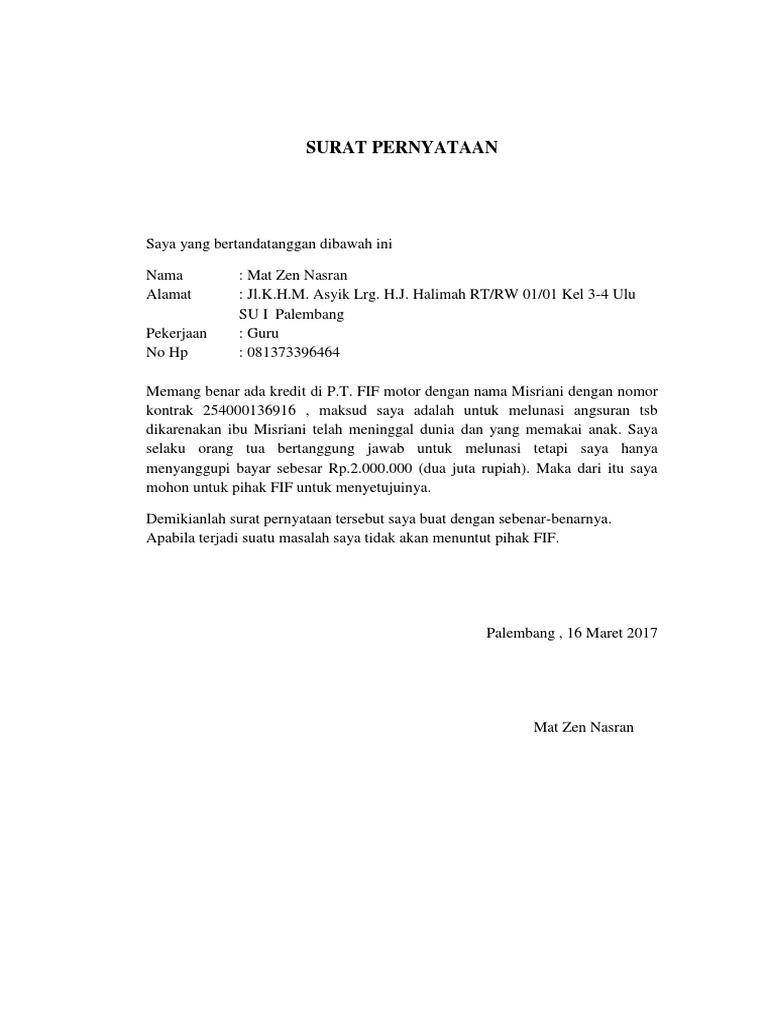 Surat Pernyataan Fif
