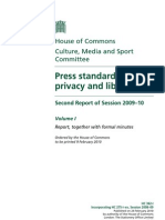 Press Standards, Privacy and Libel Second Report 2009-2010