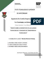 ENSAYO SOBRE LOS BENEFICIOS DE LAS ALIANZAS TECNOLOGICAS Y CONVENIOS DE TRANSFERENCIA  TECNOLOGICA