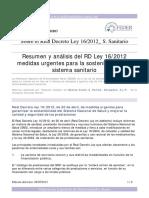 Análisis y Resumen Del Real Decreto Ley 16 de 2012