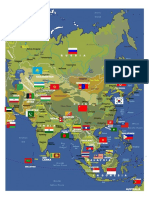 Asia's Map With Countries Flag