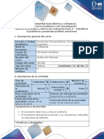 Guía de actividades y rúbrica de evaluación - Paso 2 - Identificar el problema y presentar posibles soluciones