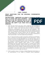 Essay Questions for the Regional Coordinator Applicants 170124