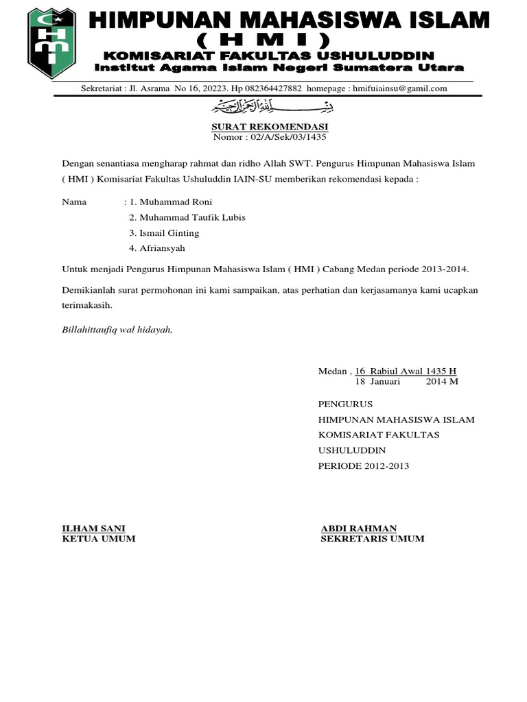 Surat Hmi Komisariat