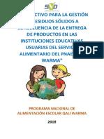 Instructivo Para La Gestión de Residuos Sólidos a Consecuencia de La Entrega de Productos en Las Instituciones Educativas Usuarias Del Servicio Alimentario Del Pnae Qali Warma