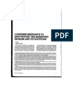 Consumer Resistance to Innovations the Marketing Problem and Its Solutions