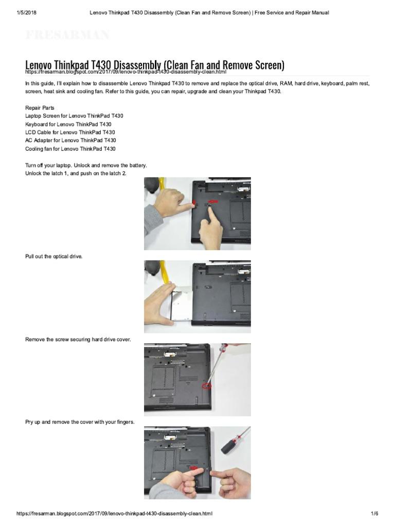 Lenovo Thinkpad T430 Disassembly (Clean