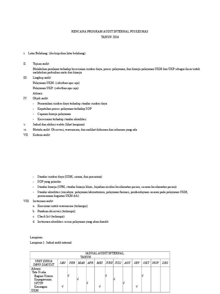 Contoh Rencana Audit Internal Puskesmas Ilmusosial Id