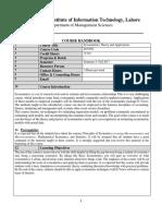Econometrics Theory and Applications ECO501_Comsats