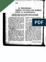 El Peronismo es la primera victoria del pueblo sobre la oligarquia. Eva Peron