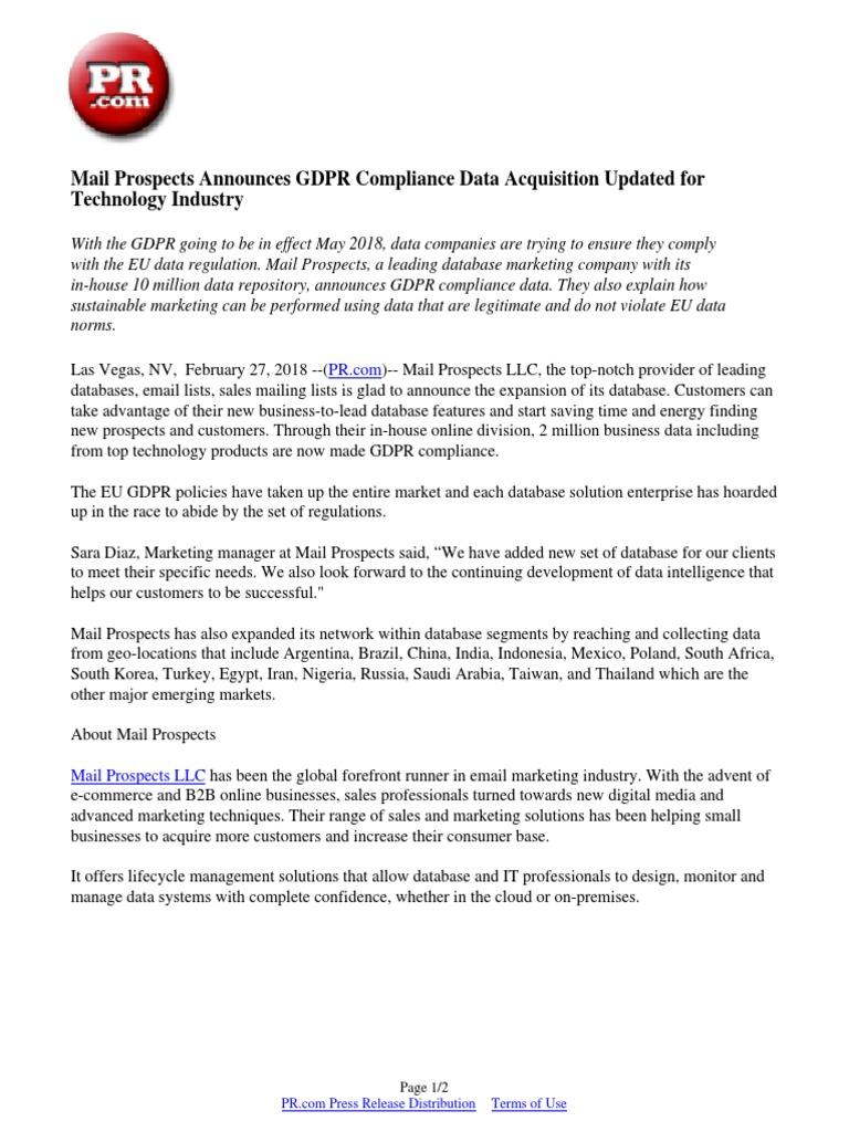 Mail Prospects Announces GDPR Compliance Data Acquisition