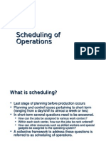 Scheduling of Operations