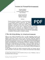 Schubert, Friedmann & Regenbrecht - Embodied Presence in Virtual Environments