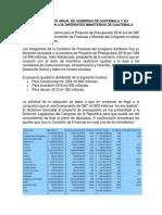Presupuesto Anual de Gobierno de Guatemala y Su Distribución en Los Diferentes Ministerios de Guatemala