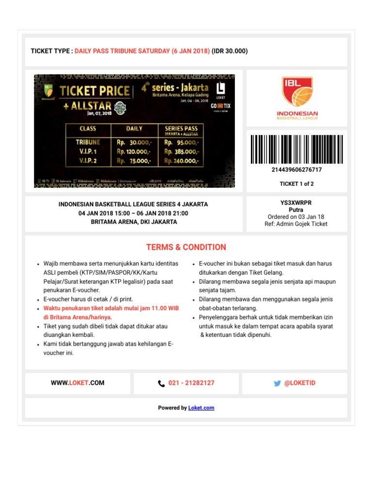 E Voucher Indonesian Basketball League Series 4 Jakarta Tiket Gelang