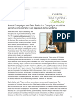 Church Capital Campaign Annual Budget and Debt Relief