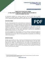 Información Oportuna sobre la Balanza Comercial de Mercancías de México durante Enero de 2018