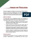 MESTRADO EM TEOLOGIA