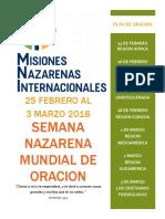 Semana Nazarena Mundial de Oracion 2018