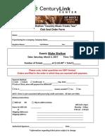 Blake Shelton Club Seat Order Form
