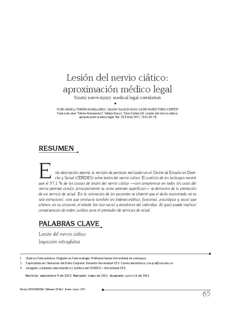 lesión del nervio ciático por inyección