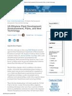 US Ethylene Plant Development; Announcement, Plans, And New Technology