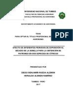 EFECTO DE DIFERENTES PERIODOS DE EXPOSICIÓN AL SECADO DE LA SEMILLA PARA LA OBTENCIÓN DE PATRONES EN DOS ESPECIES DE CÍTRICOS