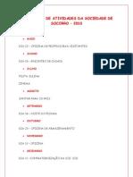 CALENDÁRIO DE ATIVIDADES DA SOCIEDADE DE SOCORRO