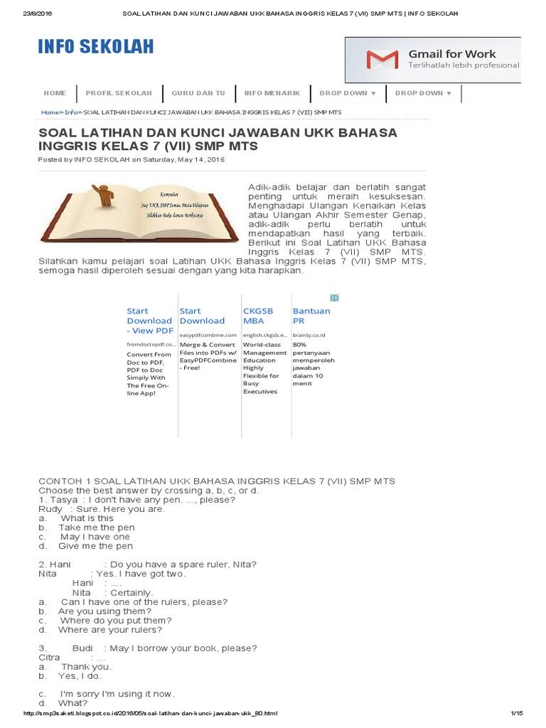 Soal Latihan Dan Kunci Jawaban Ukk Bahasa Inggris Kelas 7 Vii Smp