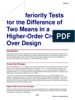 Non-Inferiority Tests for the Difference of Two Means in a Higher-Order Cross-Over Design