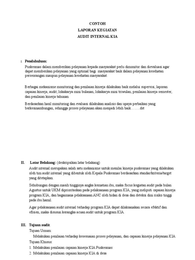 Contoh Laporan Audit Internal Kia Temuan Tindak Lanjut Doc