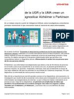 Investigadores Ugr Uma Crean Metodo Diagnosticar Alzheimer Parkinson