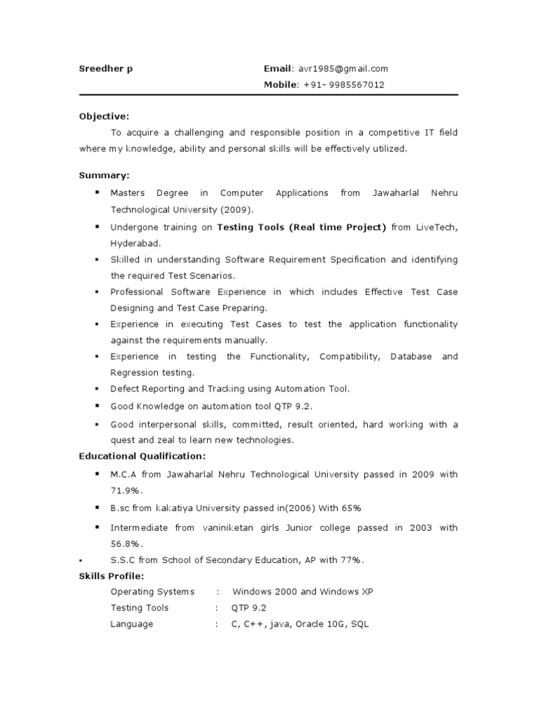 testing resume for fresher resume ideas