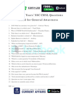 SSC CHSL Previous Years Questions GK