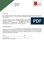 Scholarship Application 2015