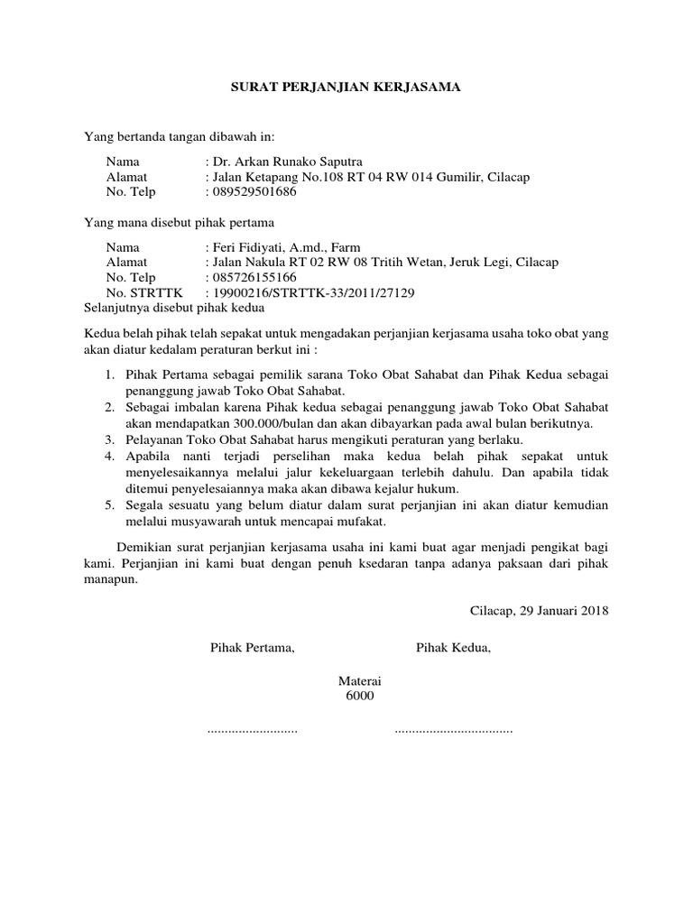 Contoh Surat Perjanjian Kerjasama Usaha