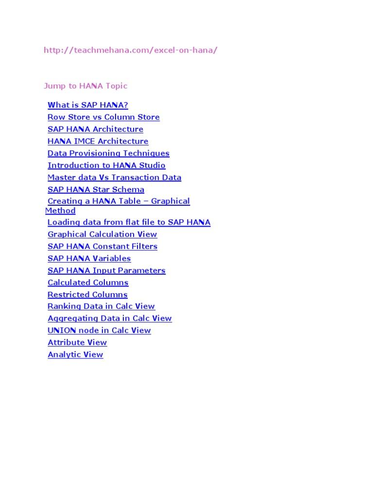 Understanding SAP HANA   Computer Data Storage   Databases