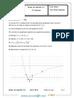 Devoir de Contrôle N°2 Avec correction- Math dérivabilité-trigonometrie - 3ème Sciences exp (2013-2014) Mr mhamdi abderrazek