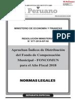 Aprueban Índices de Distribución del Fondo de Compensación Municipal - FONCOMUN para el Año Fiscal 2018