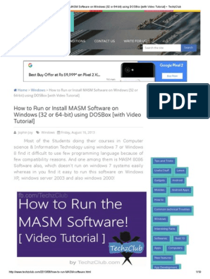 How to Run or Install MASM Software on Windows (32 or 64-Bit) Using