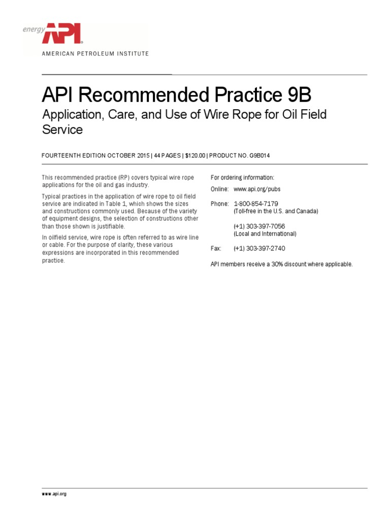 API Recommended Practice 9B Application, Care, And Use of Wire Rope for Oil  Field Service   Wire   Rope