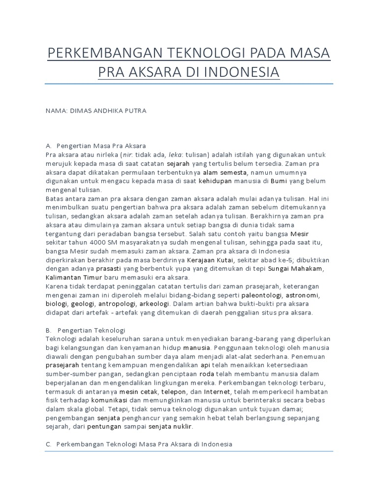 Perkembangan Teknologi Pada Masa Pra Aksara Di Indonesia 6