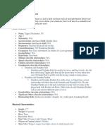 warren character profile worksheet