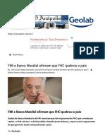FMI e Banco Mundial Afirmam Que FHC Quebrou o País – Jornal O Anápolis