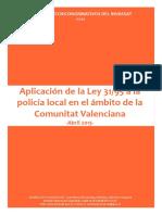 ICT201504a - Aplicación de La Ley 31 95 a La Policía Local en El Ámbito de La Comunitat Valenciana