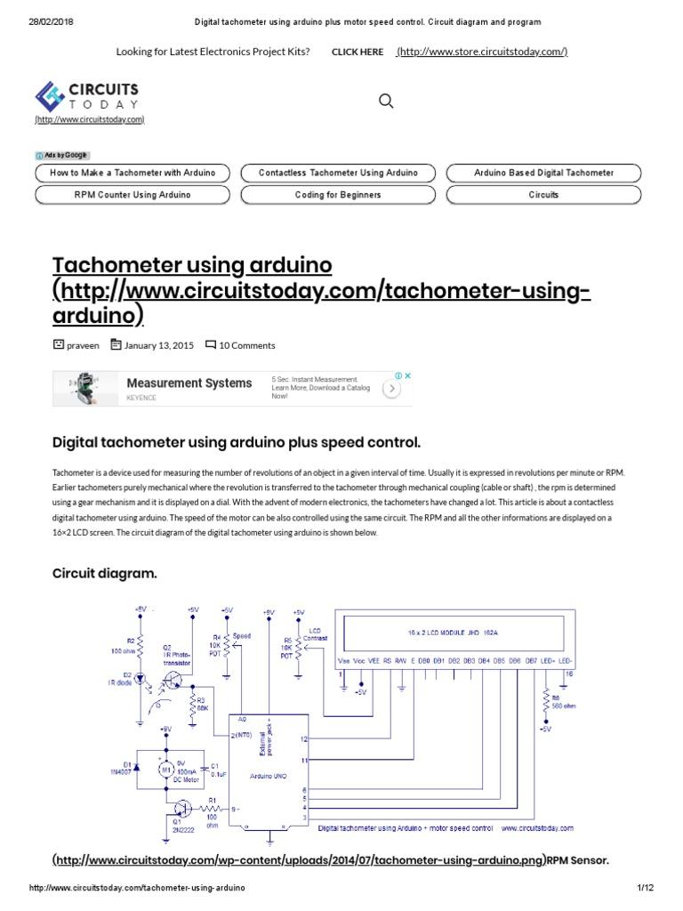 Digital Tachometer Using Arduino Plus Motor Speed Control Circuit Power Supply Wiring Diagram Governor And Program Electronic Circuits