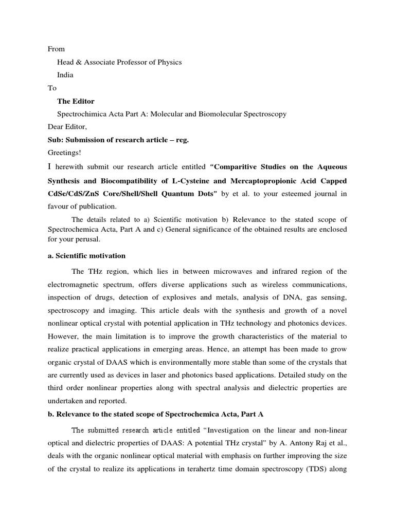 Cover Letter (1) | Terahertz Radiation | Spectroscopy