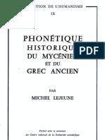 LEJEUNE Phonetique Historique Du Mycenien Et Du Grec Ancien
