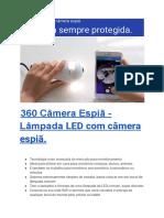 360 Câmera Espiã - Lâmpada LED Com Câmera Espiã.