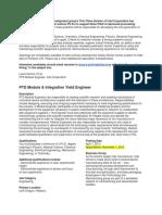 INTEL PTD Module Engineer Position